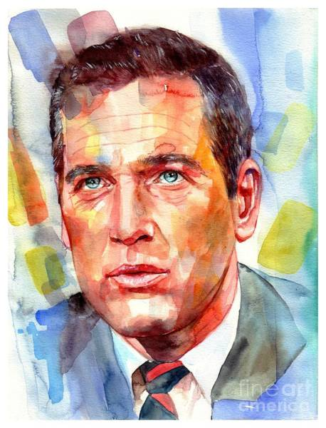 Screen Painting - Paul Newman Portrait by Suzann's Art
