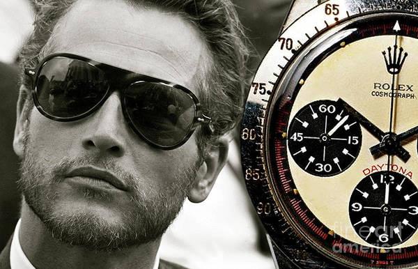 Wall Art - Mixed Media - Paul Newman, Rolex Daytona by Thomas Pollart