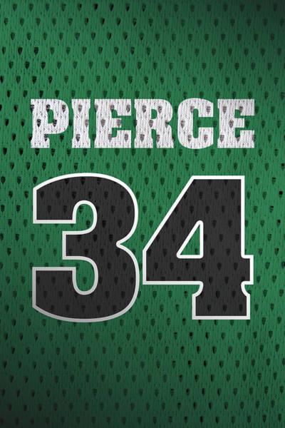 Celtic Mixed Media - Paul Pierce Boston Celtics Number 34 Retro Vintage Jersey Closeup Graphic Design by Design Turnpike