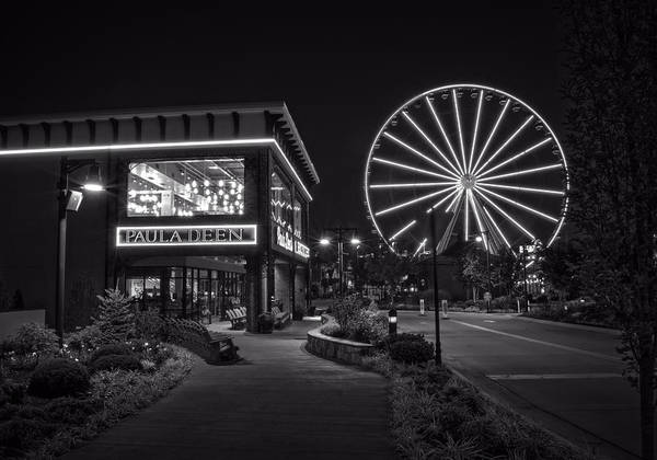 Paula Wall Art - Photograph - Paula Deen's At Night In Black And White by Greg and Chrystal Mimbs