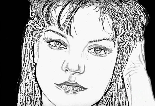 Drawing - Pauley Perrette by Bill Richards