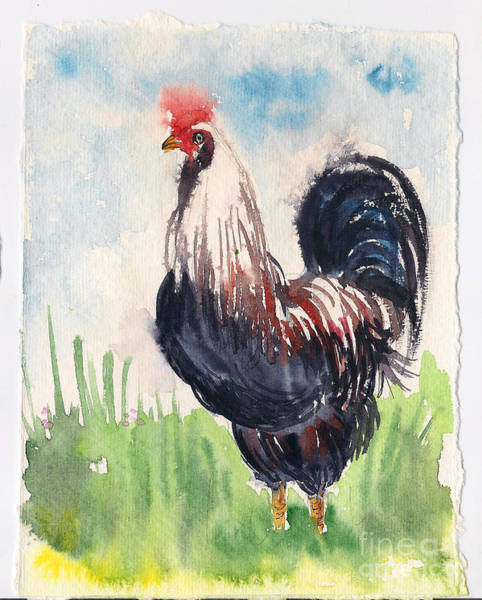 Painting - Paunchy Rooster by Asha Sudhaker Shenoy