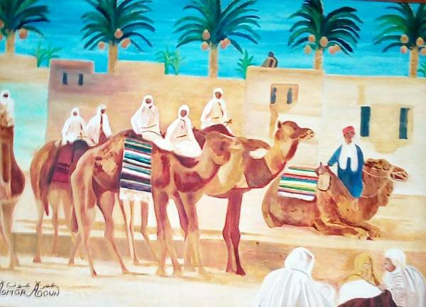 Wall Art - Painting - Pause Of The Camels  by Amor Aoun