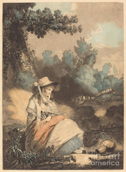 Riverbank Drawing - Pauvre Annette by Philibert-louis Debucourt