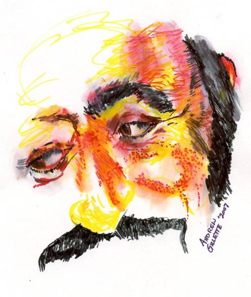 Drawing - Pavarotti Sketch No. 1 by Andrew Gillette