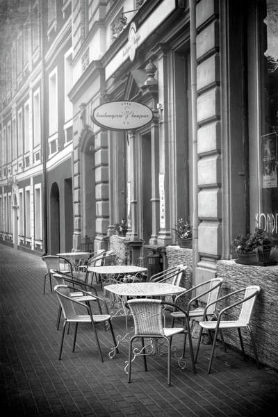 Outdoor Cafe Photograph - Pavement Cafe Riga Latvia In Black And White by Carol Japp