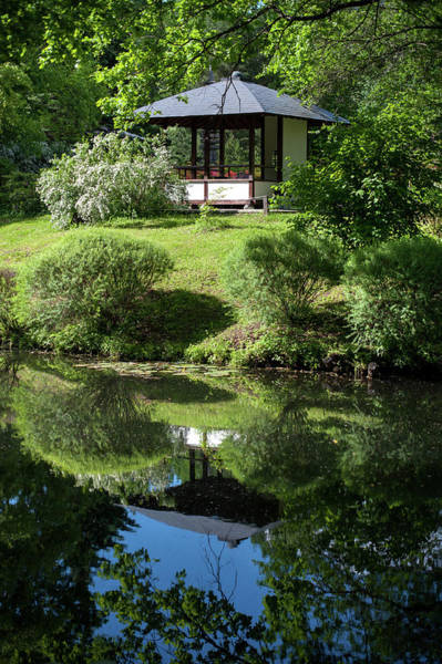Rights-managed Wall Art - Photograph - Pavilion  In Japanese Garden by Jenny Rainbow