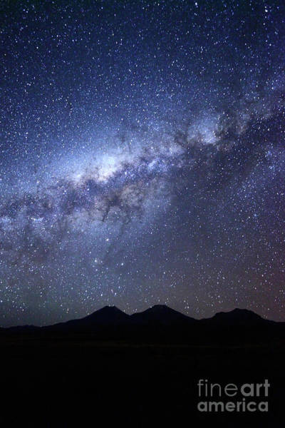 Photograph - Payachatas Volcanos And Milky Way Bolivia by James Brunker