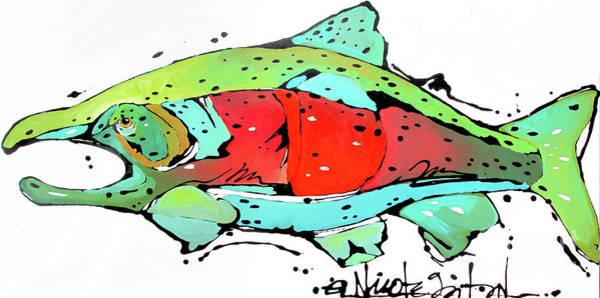 Painting - Payne The Salmon by Nicole Gaitan
