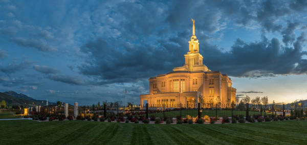 Art Print featuring the photograph Payson Temple Panorama by Dustin  LeFevre