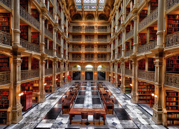 Shelves Photograph - Peabody Library - Johns Hopkins University by Mountain Dreams