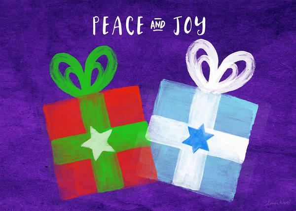 Presents Painting - Peace And Joy- Hanukkah And Christmas Card By Linda Woods by Linda Woods