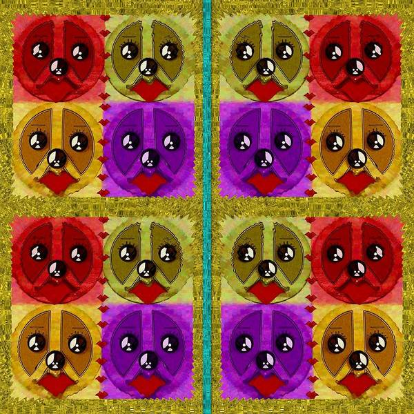 Wall Art - Mixed Media - Peace Dogs by Pepita Selles
