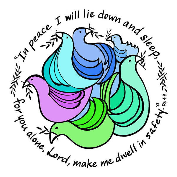 Olive Branch Drawing - Peace Doves And Psalm 4, Verse 8 by Marilyn Hilliard