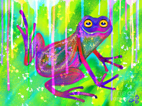 Wall Art - Painting - Peace Frog In The Rainbow Rain by Nick Gustafson