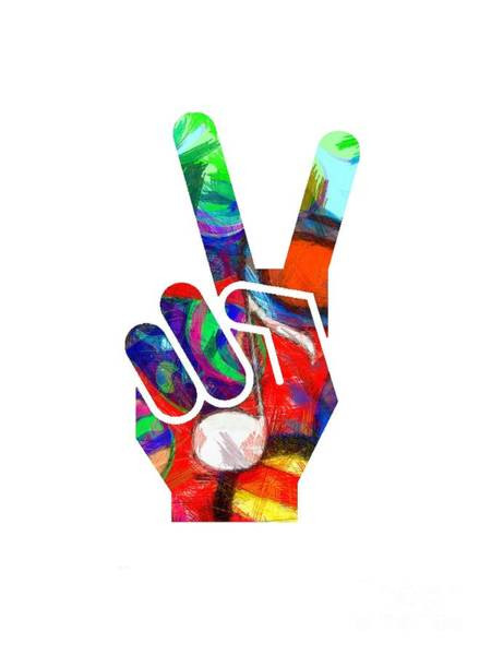 Digital Art - Peace Hippy Paint Hand Sign by Edward Fielding