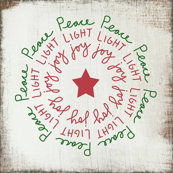 Peace Light Joy Wreath- Art By Linda Woods Art Print