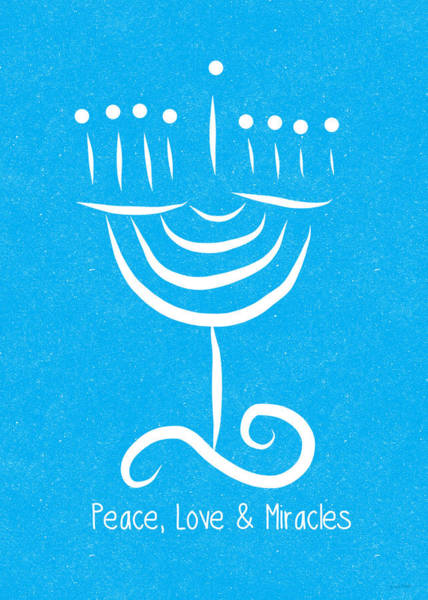 Card Painting - Peace Love And Miracles With Menorah by Linda Woods
