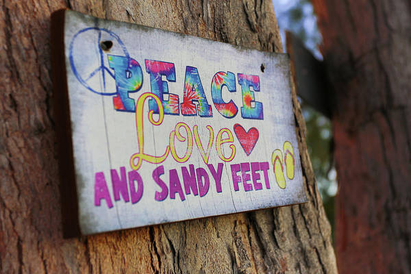 Peace Love And Sandy Feet Art Print