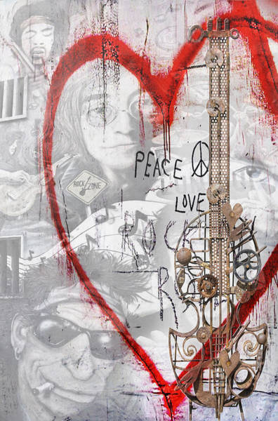 Wall Art - Painting - Peace Love Rocknroll by Joachim G Pinkawa