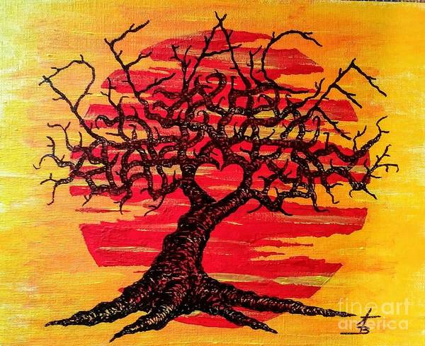 Drawing - Peace Love Tree by Aaron Bombalicki