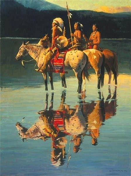 Painting - Peace On Blue Lake by David Mann