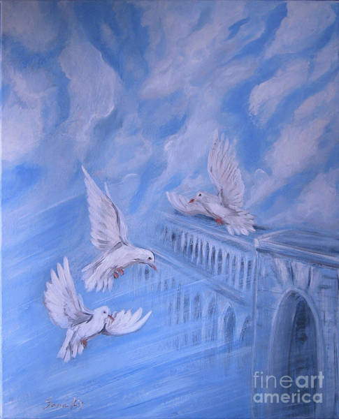 Painting - Peace On Earth And Doves by Oksana Semenchenko