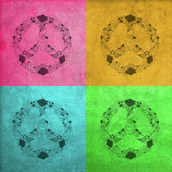 Child Mixed Media - Peace Sign Flower Child Pop Art Color Quadrants by Design Turnpike