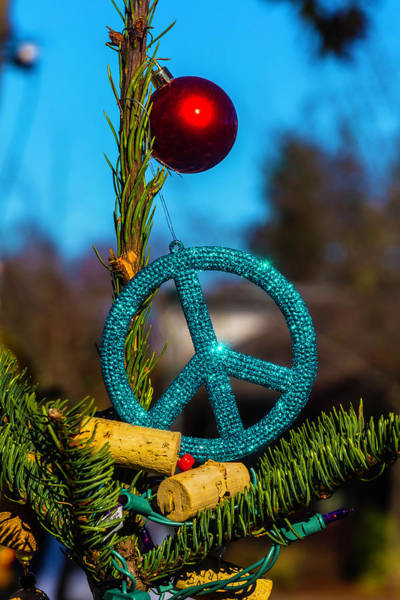 Wall Art - Photograph - Peace Sign On Christmas Tree by Garry Gay