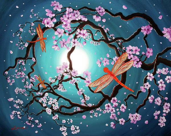Laura Wall Art - Painting - Peace Tree With Orange Dragonflies by Laura Iverson