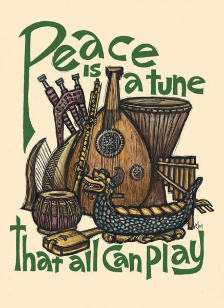 Harp Mixed Media - Peace Tune by Ricardo Levins Morales