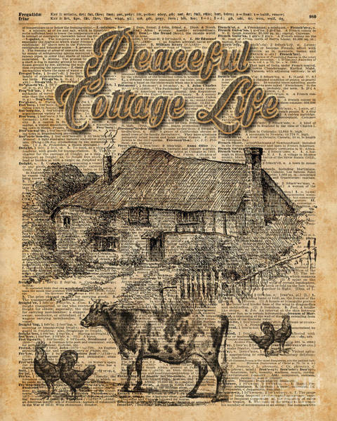 Wall Art - Digital Art - Peaceful Cottage Life Vintage Dictionary Art by Anna W
