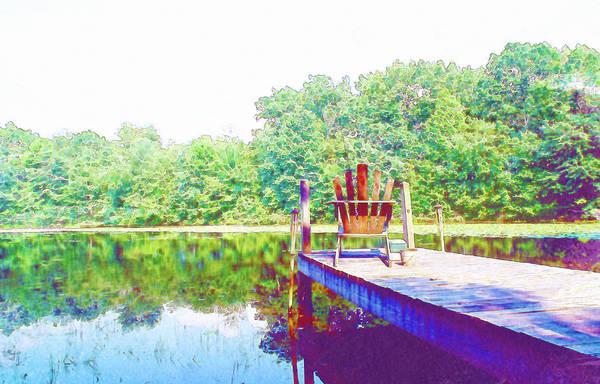 Adirondack Mountains Digital Art - Peaceful Dock by Jennifer Holloway