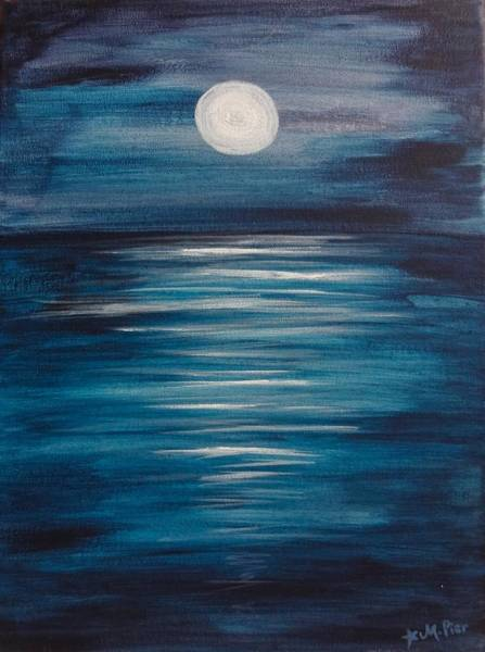 Painting - Peaceful Moon At Sea by Michelle Pier