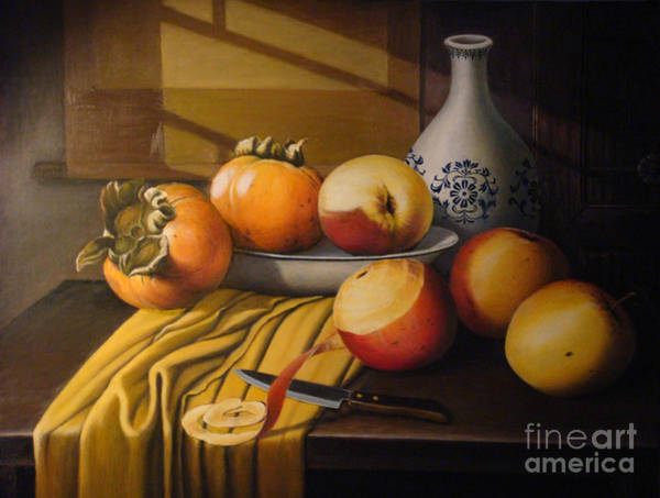 Persimmon Painting - Peaceful Scene by Tierong Fu