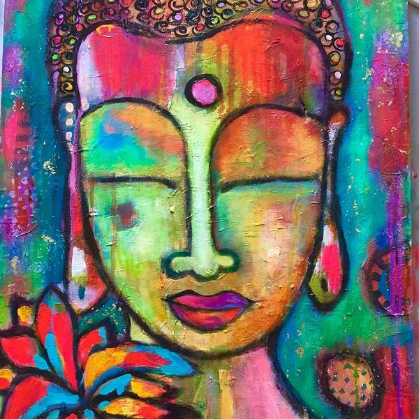 Art Print featuring the mixed media Peaceful Warrior  by Corina Stupu Thomas