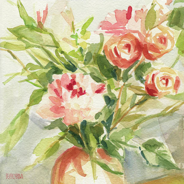 Peach Flower Wall Art - Painting - Peach And Yellow Carnations And Roses by Beverly Brown