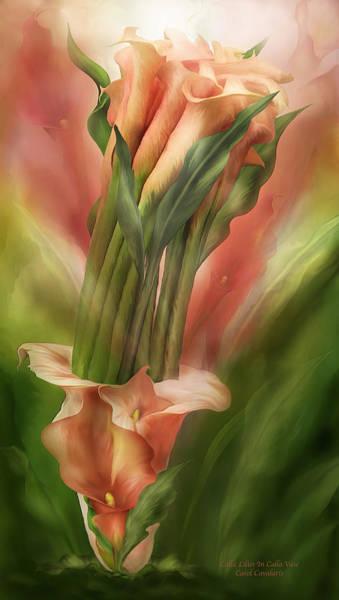 Mixed Media - Peach Calla Lilies In Calla Vase by Carol Cavalaris