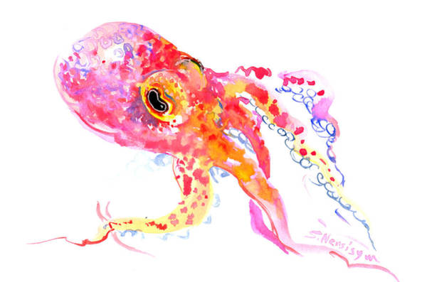 Octopus Painting - Peach Color Octopus by Suren Nersisyan