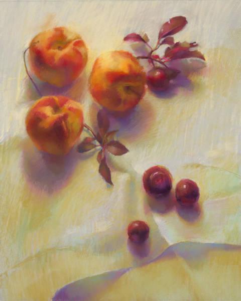 Peaches And Cherries Art Print by Cathy Locke