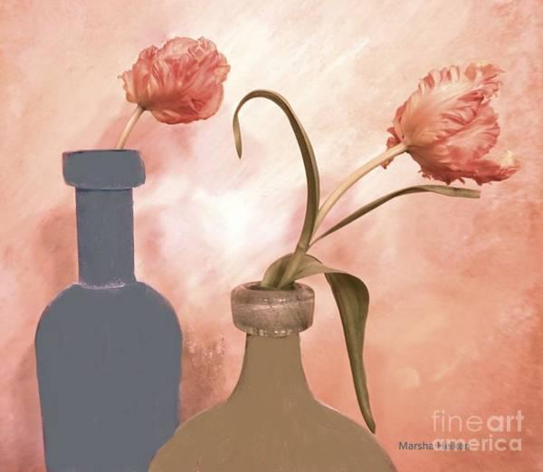 Wall Art - Digital Art - Peaches And Cream Tulips by Marsha Heiken