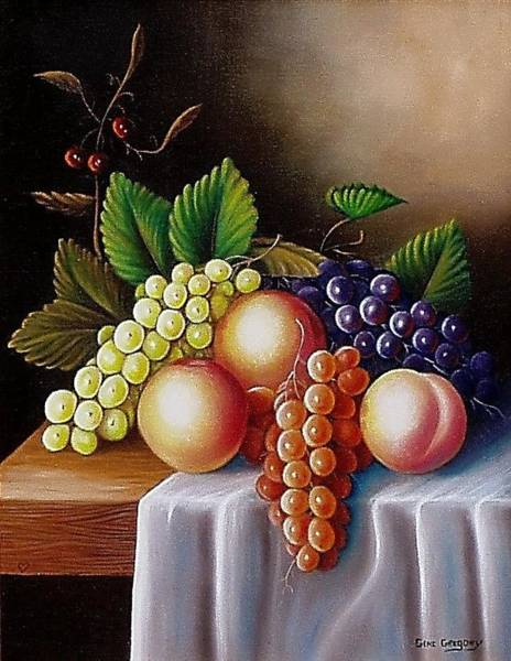 Painting - Peaches And Grapes by Gene Gregory