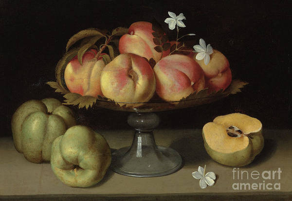 Wall Art - Painting - Peaches In A Glass Bowl, Apples And Jasmine Flowers by Fede Galizia