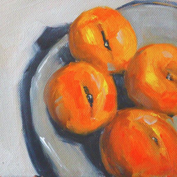 Wall Art - Painting - Peaches Still Life by Nancy Merkle