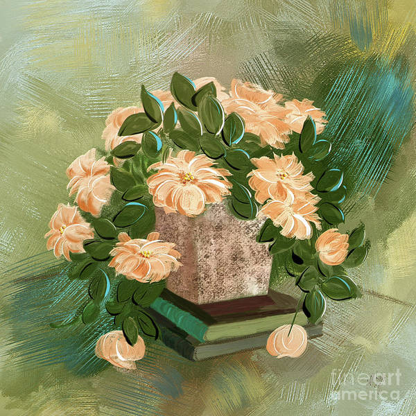Digital Art - Peachy Roses On The Coffee Table by Lois Bryan
