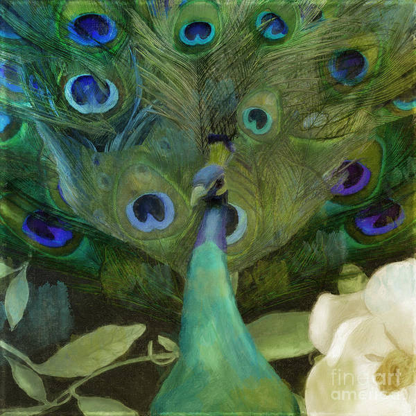 Wall Art - Painting - Peacock And Magnolia I by Mindy Sommers