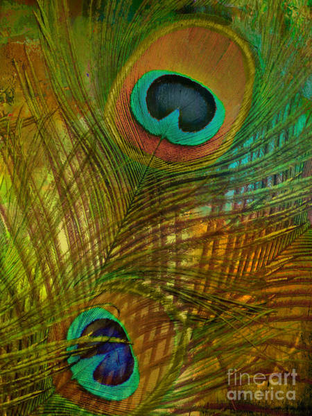 Peafowl Painting - Peacock Candy Green And Gold by Mindy Sommers