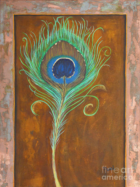 Wall Art - Painting - Peacock Feather On Rust by Jutta Maria Pusl