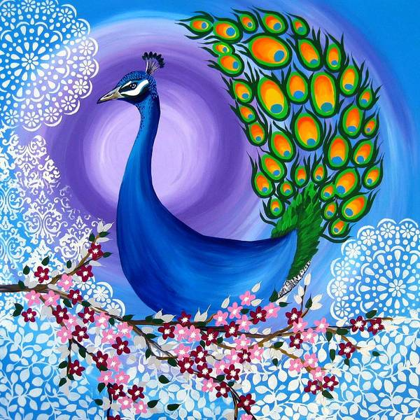 Lovebird Painting - Peacock Spirit Animal by Cathy Jacobs