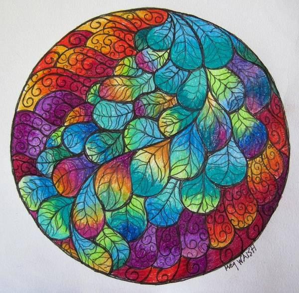 Wall Art - Drawing - Peacock Tail Mandala by Megan Walsh